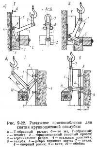 Рис. 9-22. Рычажное приспособление для снятия крупнощитовой опалубки