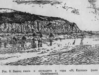 Рис. 9. Выход гипса и ангидрита у горы «М. Колпак»