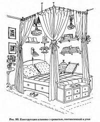 Рис. 90. Конструкция алькова с кроватью, поставленной в угол