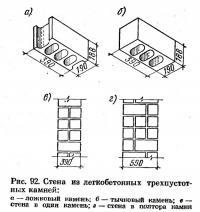 Рис. 92. Стена из легкобетонных трехпустотных камней