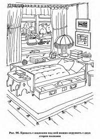 Рис. 96. Кровать с ящиками под ней можно окружить с двух сторон полками
