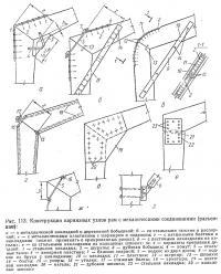 Рыс. 113. Конструкции карнизных узлов рам с механическими соединениями