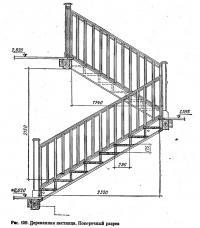 Рже. 159. Деревянная лестница. Поперечный пазрез