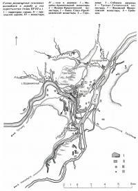 Схема размещения основных ансамблей в городе и его окрестностях (план XVIII в.)