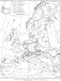Схематическая карта распространения типов народного жилища в странах зарубежной Европы