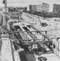 Сооружение станции Бакинского метрополитена открытым способом
