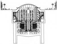 Станция Кэнэри Ворф. Поперечный разрез