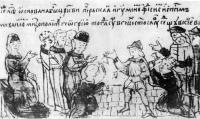 Строительство Успенского собора Печерского монастыря. Миниатюра Радзивилловской летописи