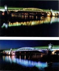Свето-цвето-динамическая программа освещения пешеходного Андреевского моста