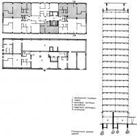 Типовой этаж и поперечный разрез здания