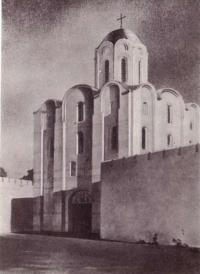 Троицкая надвратная церковь. Реконструкция автора. Рисунок В. Шамотюка
