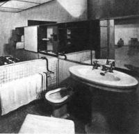 В жилых интерьерах ванная комната может почти не вычленяться из интерьера спальни. Ле Корбюзье, 1920