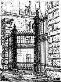 Жилой дом в Ново-Спасском переулке. Фрагмент с въездными воротами
